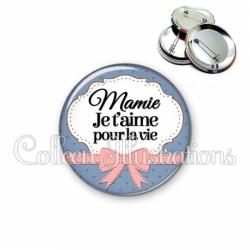 Badge 56mm Mamie je t'aime pour la vie (183BLE01)