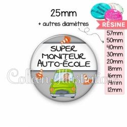 Cabochon en résine epoxy Super moniteur auto-école (184GRI01)