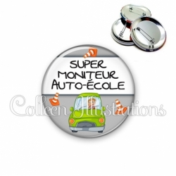 Badge 56mm Super moniteur auto-école (184GRI01)