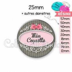 Cabochon en résine epoxy Miss coquette (043GRI01)