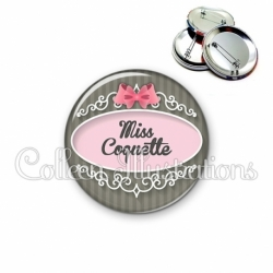Badge 56mm Miss coquette (043GRI01)