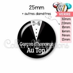 Cabochon en verre Garçon d'honneur au Top ! (098NOI01)