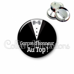 Badge 56mm Garçon d'honneur au Top ! (098NOI01)