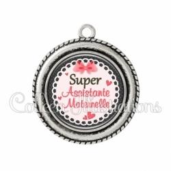 Pendentif résine Super assistante maternelle (005ROS01)