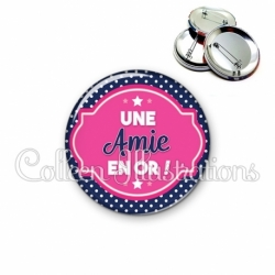 Badge 56mm Une amie en or (011BLE01)