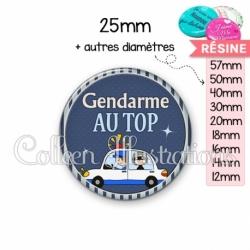 Cabochon en résine epoxy Gendarme au top (031BLE01)