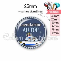 Cabochon en verre Gendarme au top (031BLE01)