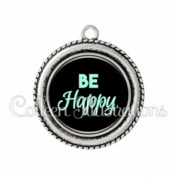 Pendentif résine Be happy (181NOI10)
