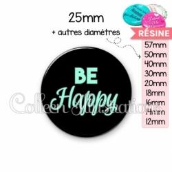 Cabochon en résine epoxy Be happy (181NOI10)