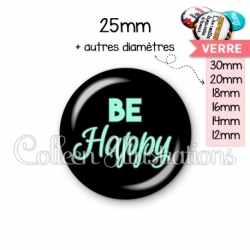 Cabochon en verre Be happy (181NOI10)