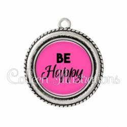 Pendentif résine Be happy (181ROS02)