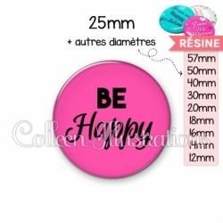 Cabochon en résine epoxy Be happy (181ROS02)
