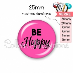 Cabochon en verre Be happy (181ROS02)