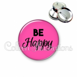 Badge 56mm Be happy (181ROS02)