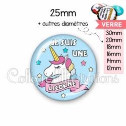Cabochon en verre Je suis une licorne (185MUL01)