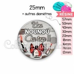 Cabochon en résine epoxy Nounou au top (178GRI01)