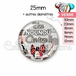 Cabochon en verre Nounou au top (178GRI01)