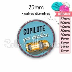 Cabochon en résine epoxy Copilote qui déchire (032BLE01)