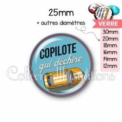 Cabochon en verre Copilote qui déchire (032BLE01)