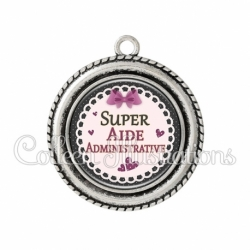Pendentif résine Super aide administrative (005VIO01)