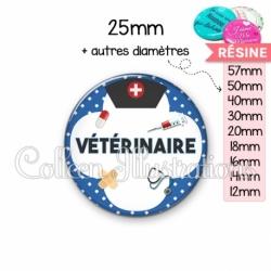 Cabochon en résine epoxy Vétérinaire (002BLE01)