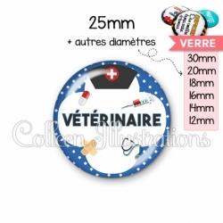 Cabochon en verre Vétérinaire (002BLE01)