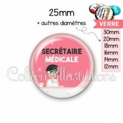 Cabochon en verre Secrétaire médicale (035ROS03)