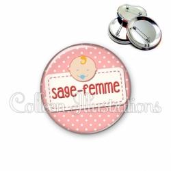 Badge 56mm Sage-femme (003ROS07)