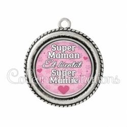Pendentif résine Super maman et bientôt super mamie (014ROS04)