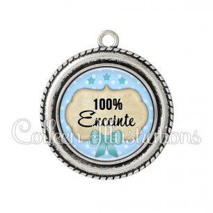 Pendentif résine 100% enceinte (006BLE04)