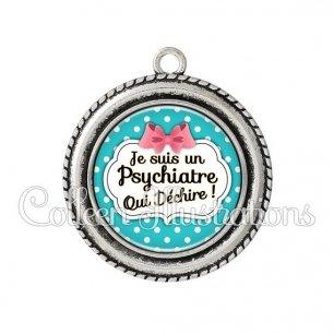 Pendentif résine Psychiatre qui déchire (006BLE07)
