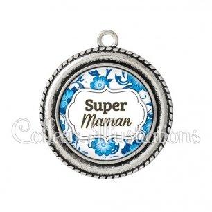 Pendentif résine Super maman (006BLE11)