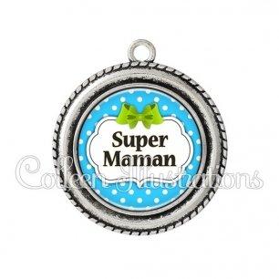 Pendentif résine Super maman (006BLE20)