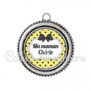 Pendentif résine Maman chérie (006JAU01)