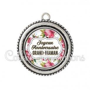 Pendentif résine Joyeux anniversaire grand-maman (006MUL09)