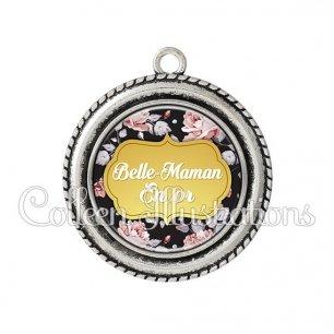 Pendentif résine Belle-maman en or (006MUL12)