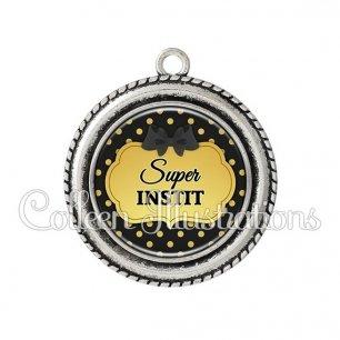 Pendentif résine Super instit (006NOI01)