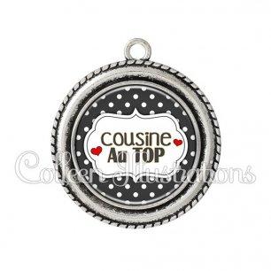 Pendentif résine Cousine au top (006NOI11)