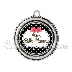 Pendentif résine Super belle-maman (006NOI13)