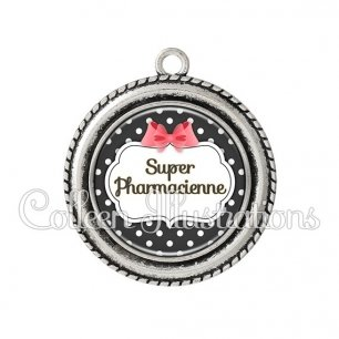 Pendentif résine Super pharmacienne (006NOI13)