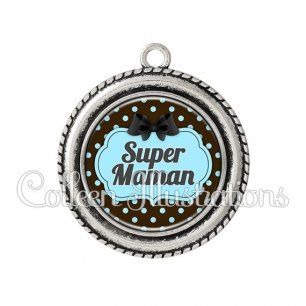Pendentif résine Super maman (006NOI18)