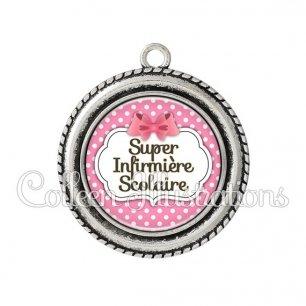 Pendentif résine Super infirmière scolaire (006ROS02)