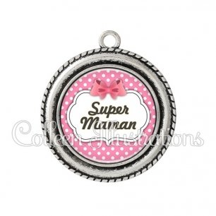 Pendentif résine Super maman (006ROS02)