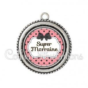 Pendentif résine Super marraine (006ROS05)