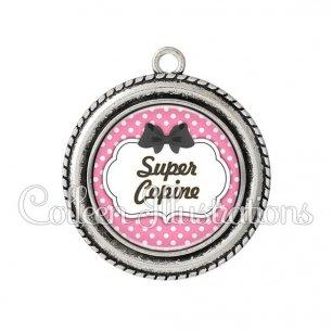 Pendentif résine Super copine (006ROS12)