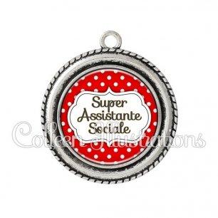 Pendentif résine Super assistante sociale (006ROU02)