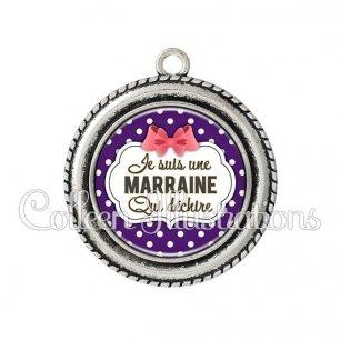 Pendentif résine Marraine qui déchire (006VIO09)