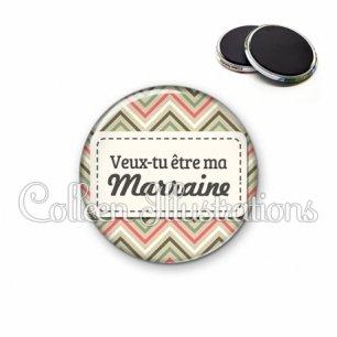 Magnet 56mm Veux-tu être ma marraine (003MUL01)