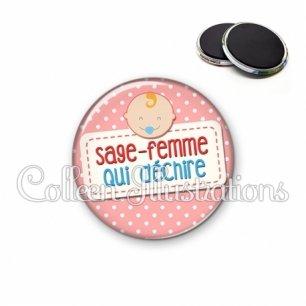 Magnet 56mm Sage-femme qui déchire (003ROS07)