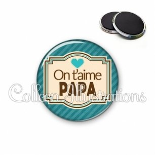 Magnet 56mm Papa on t'aime (004BLE04)